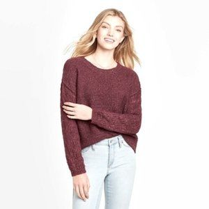 Knox Rose Knit Pointelle Sleeve Sweater Large